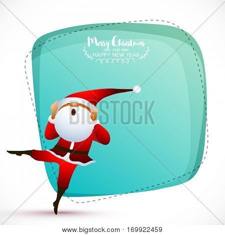 Greeting Card design with dancing Santa Claus for Merry Christmas celebration.