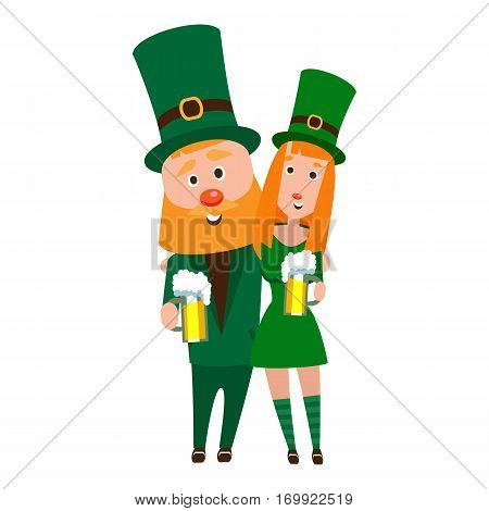 St. Patrick's Woman in an embrace. Cartoon character. A man with a red beard and a woman with red hair in an emerald suit. Cheerful young people with a mug of foamy beer.