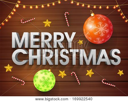 3D Text Merry Christmas on xmas ornaments and lights decorated wooden background, Elegant Party celebration Poster, Banner or Flyer design.