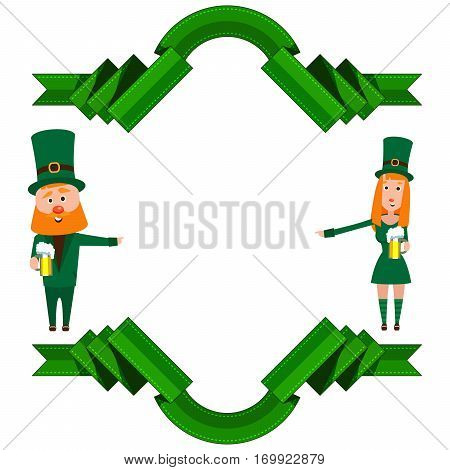 Festive frame with green ribbons and characters. St. Patrick and the girl. A man with a red beard and a woman with hair ryzhymi. Cheerful young people having a beer.