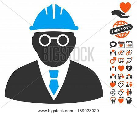 Clever Engineer icon with bonus romantic design elements. Vector illustration style is flat iconic elements for web design app user interfaces.