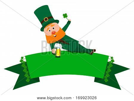 Festive Ribbon with clover and St. Patrick. The man with the red beard is the banner. Cheerful man in the green suit with a mug of foamy beer.