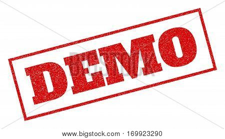 Red rubber seal stamp with Demo text. Vector caption inside rectangular shape. Grunge design and unclean texture for watermark labels. Inclined sign.