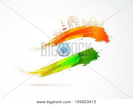 Indian Republic Day celebration background with National Flag colors brush stroke, Ashoka Wheel and Famous Monuments.