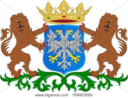 Coat of arms of Arnhem is a city and municipality situated in the eastern part of the Netherlands. Vector illustration