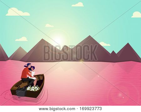 Young Romantic Couple sitting in a boat on beautful nature background for Happy Valentine's Day Celebration.