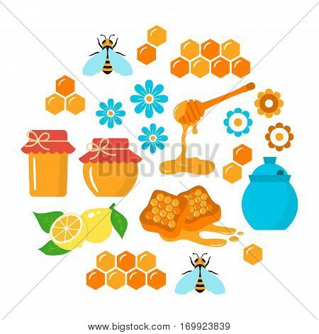 Honey vector flat icons set with honeybee, jar, honeycomb, lemon and dipper stick, isolated on white background.