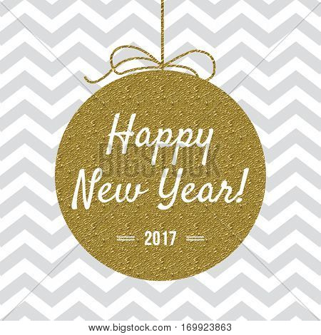 Happy New Year 2017 card with gold detail