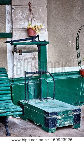 GOUIN BUENOS AIRES ARGENTINA - MAY 27 2016: An old balance in the exterior of the old restaurant