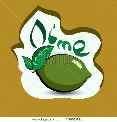 Lime with the title on the label. Sticker with eco product and its name. A beautiful illustration of a tropical fruit. Food in a cartoon style.