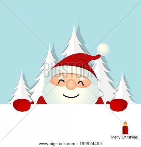 Christmas Greeting Card with Santa Claus. Vector illustration.