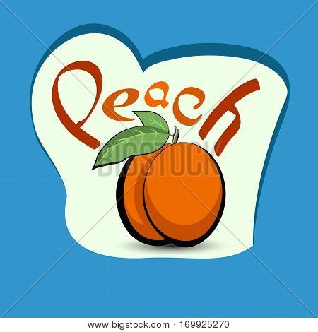 Peach with the title on the label. Sticker with eco product and its name. A beautiful illustration of a tropical fruit. Food in a cartoon style.