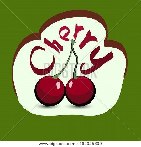 Cherry with the title on the label. Sticker with eco product and its name. A beautiful illustration of a tropical fruit. Food in a cartoon style.