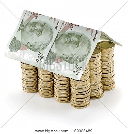 Turkish lira banknote as a roof at the top of stack of coins as concept related to real estate business.