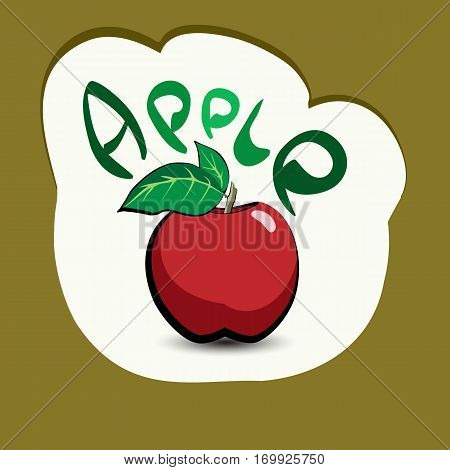 Apple with the title on the label. Sticker with a vegetarian product and its name. A beautiful illustration of a tropical fruit. Food in a cartoon style.