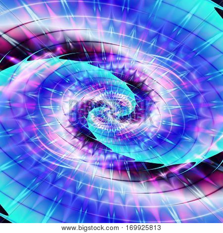 Abstract rotating spiral background with rays resembling expansion of the universe. Blue, pink, purple and white fractal background with beams