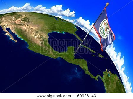Belize national flag marking the country location on world map. 3D rendering, parts of this image furnished by NASA