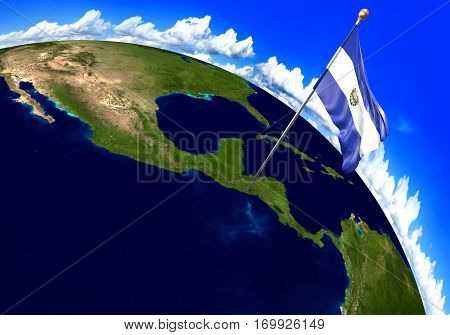 El Salvador national flag marking the country location on world map. 3D rendering, parts of this image furnished by NASA