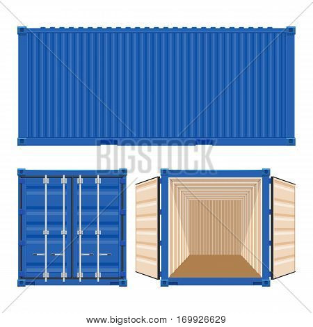 Shipping cargo container vector illustration isolated on white background