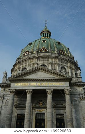 An exterior view of the elegant marble church in Copenhagen