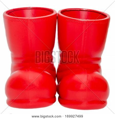 Santa Claus Red Boots, Shoes. Saint Nicholas Red Boots, Presents, Gifts.
