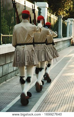 Soldiers from guard of honour marching in traditional military uniform Athens Greece