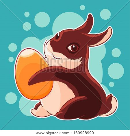 Chocolate Easter Bunny with egg in his paws. Hunting. Spring holiday. Vector illustration. T-shirt print. Greeting card.