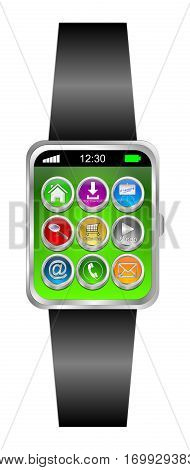 Smartwatch with different function Buttons - 3D illustration