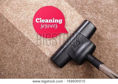 Vacuuming carpet with vacuum cleaner. Cleaning services speech bubble. Housework service. Close up of the head of a sweeper cleaning device. poster