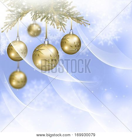 Background with Christmas golden baubles