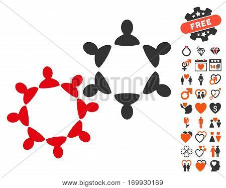 Collaboration pictograph with bonus decoration graphic icons. Vector illustration style is flat iconic symbols for web design app user interfaces.