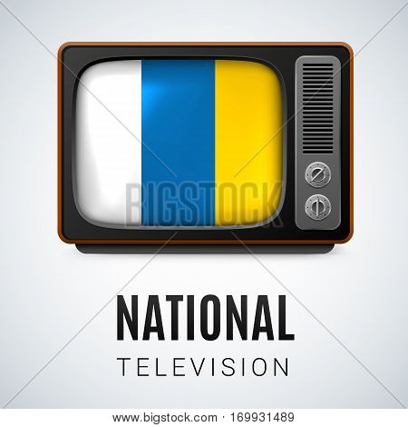 Vintage TV and Flag of Canary Islands as Symbol National Television. Tele Receiver with flag colors