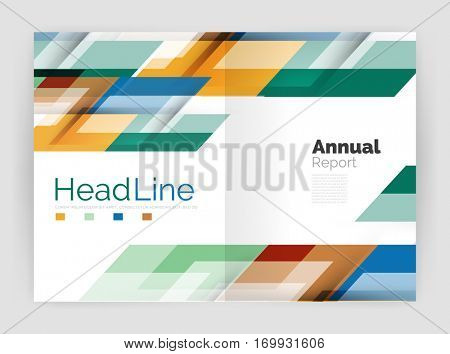 Geometric business annual report templates, modern brochure flyer template. illustration