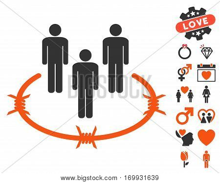 Concentration Camp icon with bonus marriage clip art. Vector illustration style is flat iconic elements for web design app user interfaces.