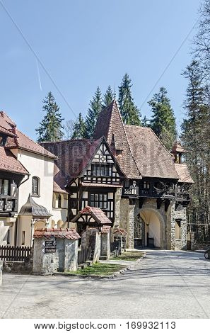 Sinaia, Romania - March 21, 2015: Detail Of The Land Domain Peles, Own By Regele Mihai (king Michael