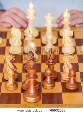 Middle Game - The Player Thinks Over Position On Chess Board