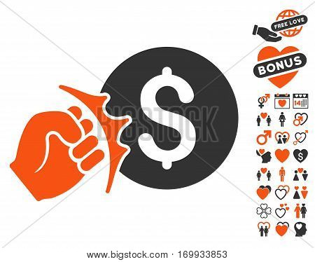 Crime Racket pictograph with bonus valentine symbols. Vector illustration style is flat iconic elements for web design app user interfaces.