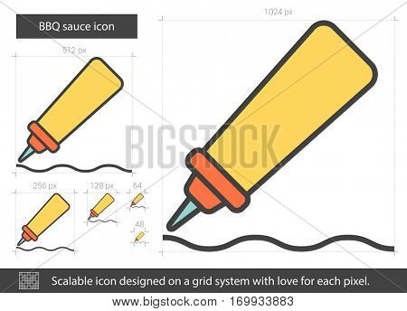 BBQ sauce vector line icon isolated on white background. BBQ sauce line icon for infographic, website or app. Scalable icon designed on a grid system.