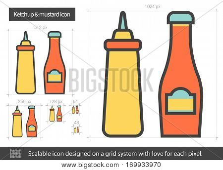 Ketchup and mustard vector line icon isolated on white background. Ketchup and mustard line icon for infographic, website or app. Scalable icon designed on a grid system.