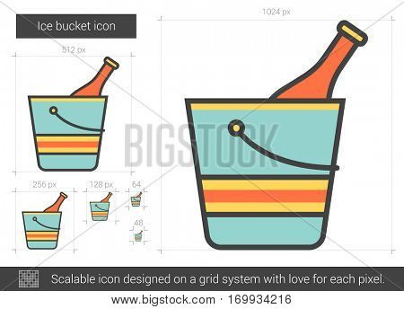Ice bucket vector line icon isolated on white background. Ice bucket line icon for infographic, website or app. Scalable icon designed on a grid system.