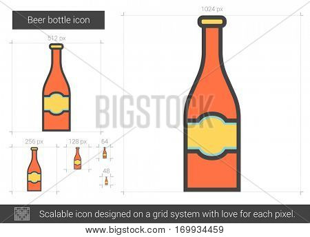 Beer bottle vector line icon isolated on white background. Beer bottle line icon for infographic, website or app. Scalable icon designed on a grid system.