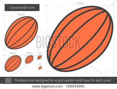 Cocoa bean vector line icon isolated on white background. Cocoa bean line icon for infographic, website or app. Scalable icon designed on a grid system.