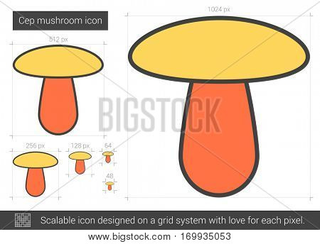Cep mushroom vector line icon isolated on white background. Cep mushroom line icon for infographic, website or app. Scalable icon designed on a grid system.