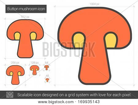Button mushroom vector line icon isolated on white background. Button mushroom line icon for infographic, website or app. Scalable icon designed on a grid system.
