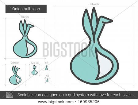 Onion bulb vector line icon isolated on white background. Onion bulb line icon for infographic, website or app. Scalable icon designed on a grid system.