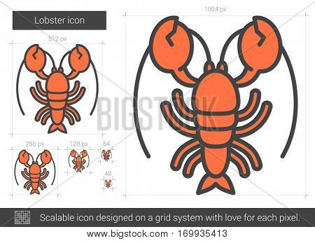 Lobster line icon for web, mobile and infographics. Vector white icon isolated on red background.