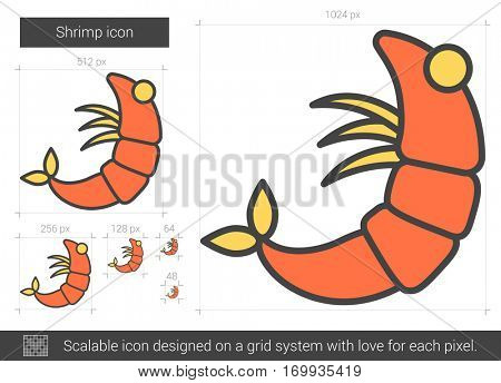 Shrimp vector line icon isolated on white background. Shrimp line icon for infographic, website or app. Scalable icon designed on a grid system.