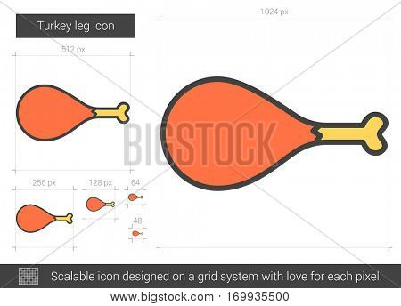 Turkey leg vector line icon isolated on white background. Turkey leg line icon for infographic, website or app. Scalable icon designed on a grid system.
