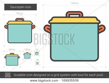 Saucepan vector line icon isolated on white background. Saucepan line icon for infographic, website or app. Scalable icon designed on a grid system.