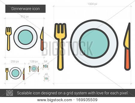 Dinnerware vector line icon isolated on white background. Dinnerware line icon for infographic, website or app. Scalable icon designed on a grid system.